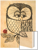 Retro Black and White Owl with Ladybug Wood Print