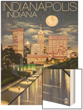 Indianapolis, Indiana - Indianapolis at Night Wood Print by  Lantern Press