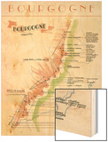 Map of French Bourgogne Wine Country Wood Print