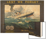Lusitania Torpedoed by a German Submarine on Her Return Journey from New York to Liverpool Wood Print