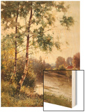 Landscape near Sonning on Thames, England Wood Print by Ernest Parton