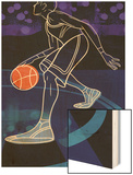 Basketball Player on Blue Wood Print
