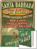 Santa Barbara, California - Surf Shop Wood Print by  Lantern Press