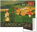 St. Andrews Vintage Poster - Europe Wood Print by  Lantern Press