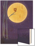 Owl on Branch with Full Moon Wood Print
