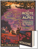 La Route Des Alpes Vintage Poster - Europe Wood Print by  Lantern Press