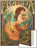 Florida - Mermaid Wood Print by  Lantern Press