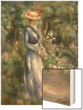 Woman in a Blue Dress Standing in the Garden at Saint-Cloud Wood Sign by Renoir Pierre-Auguste
