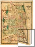 1875, Chicago City Map, Illinois, United States Wood Print
