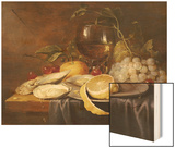 A Roemer, a Peeled Half Lemon on a Pewter Plate, Oysters, Cherries and an Orange on a Draped Table Wood Print by Joris Van Son
