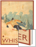 Downhhill Snow Skier, Whistler, BC Canada Wood Print by  Lantern Press