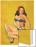 Beauty Parade Magazine; Pinup in a Bikini Wood Print by Peter Driben