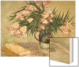 Vase with Oleanders and Books, c.1888 Wood Print by Vincent van Gogh