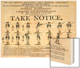 Recruitment Poster for Continental Soldiers to Serve in the American Revolution Wood Print