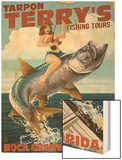 Boca Grande, Florida - Pinup Girl Tarpon Fishing Wood Print by  Lantern Press