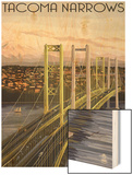 Tacoma, Washington - Narrows Bridge and Rainier Wood Print by  Lantern Press