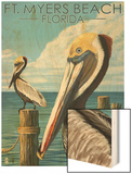 Ft. Myers Beach, Florida - Pelicans Wood Print by  Lantern Press