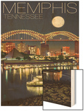 Memphis, Tennessee - Memphis Skyline at Night Prints by  Lantern Press