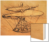Design for Spiral Screw Enabling Vertical Flight Posters by  Leonardo da Vinci