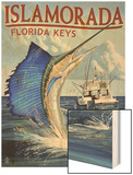 Islamorada, Florida Keys - Sailfish Scene Wood Print by  Lantern Press