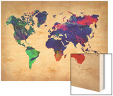 World Watercolor Map 2 Posters by  NaxArt