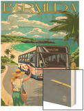 Bermuda - Pink Bus on Coastline Wood Print by  Lantern Press