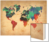 World Watercolor Map 1 Posters
