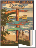 Carlsbad, California - Destination Sign Wood Print by  Lantern Press