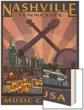 Nashville, Tennessee - Skyline at Night Wood Print by  Lantern Press