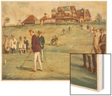 Golfers Golfing at the Royal Sydney Golf Club Links Wood Print by Percy F.s. Spence