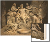 Apollo Served by the Nymphs Wood Print by Francois Girardon