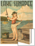 Lake Sunapee, New Hampshire - Pinup Girl Fishing Wood Print by  Lantern Press