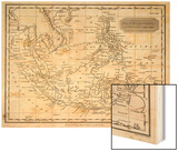 Map of the East India Islands Including the Philippines the Celebes Papua New Guinea Sumatra Wood Print by A. Findlay