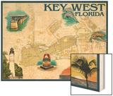 Key West, Florida - Nautical Chart Wood Print by  Lantern Press