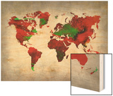 World Watercolor Map 11 Poster