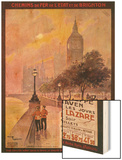 By Rail and Sea from Paris to Brighton or London Featuring the Embankment and Big Ben 6 of 8 Wood Print by Maurice Toussaint