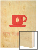 Coffee Poster Red Wood Print by  NaxArt