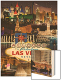 Las Vegas Casinos and Hotels Montage Wood Print by  Lantern Press