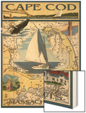 Cape Cod, Massachusetts Chart & Views Wood Print by  Lantern Press