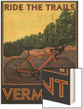 Vermont - Bicycle Scene Wood Print by  Lantern Press