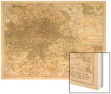 Map of London and Its Suburbs Wood Print by J. Bartholomew