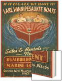 Lake Winnipesaukee, New Hampshire - Vintage Boat Sign Wood Print by  Lantern Press