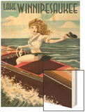 Lake Winnipesaukee, New Hampshire - Pinup Girl Boating Prints by  Lantern Press