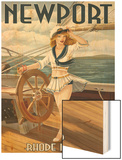 Newport, Rhode Island - Pinup Girl Sailing Wood Print by  Lantern Press