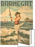 Barnegat Light, New Jersey - Pinup Girl Fishing Wood Print by  Lantern Press