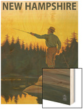 New Hampshire - Fisherman Wood Print by  Lantern Press
