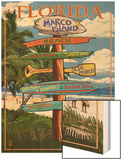 Marco Island, Florida - Destinations Signpost Wood Print by  Lantern Press