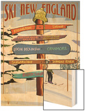 New England - Ski Areas Sign Destinations Wood Print by  Lantern Press