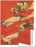 Four Very Different and Unequally Advantaged Cars Racing Prints by Geo Ham