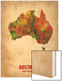 Australia Watercolor Map Wood Print by  NaxArt